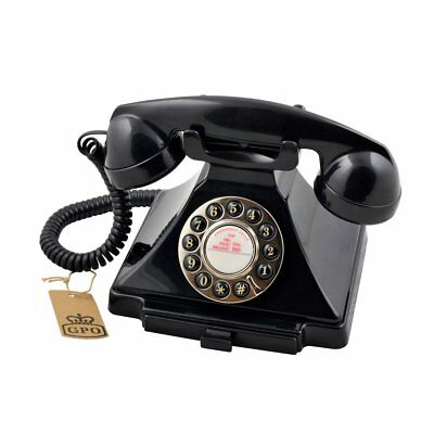 GPO Carrington 1929S Telephone - Retro Phone with Push Button Dialling in Black