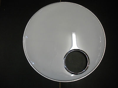 """22"""" White bass drum skin with 6""""chrome hole fitted."""