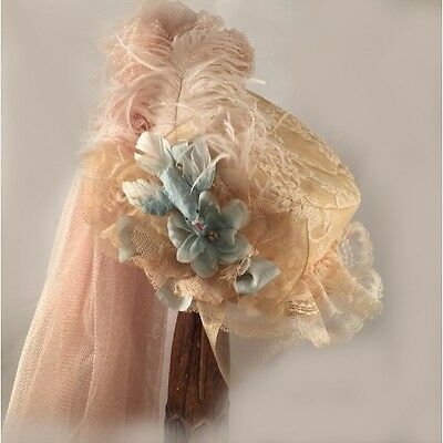 ELSIE MASSEY Victorian Antique Lace Small Boater hat w/ French Blue Dickens SASS