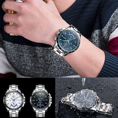 Luxury Men's Stainless Steel Military Waterproof Army Sport Quartz Wrist Watch