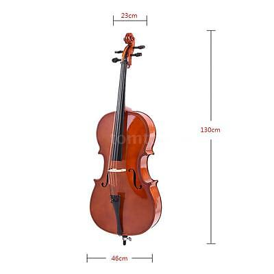 4/4 Full Size Solid Wood Cello Gloss Finish Basswood Face Board with Bag H6T1