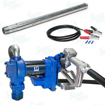 12V Fuel Transfer Pump 20 GPM Gallon Gasoline Diesel Gas Kerosene Truck Vehicle