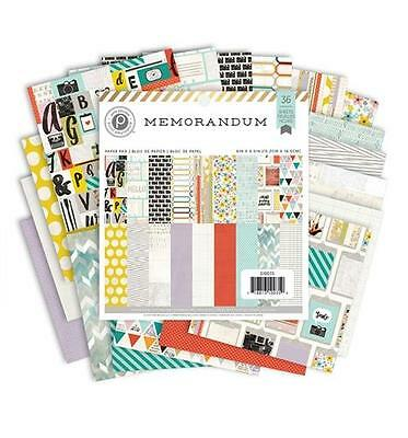 Pink Paislee MEMORANDUM 6x6 Paper Pad 36pc Daily Planner Scrapbook Pocket Page