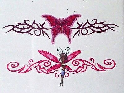 Red Fairy & Butterfly Temporary Tattoos