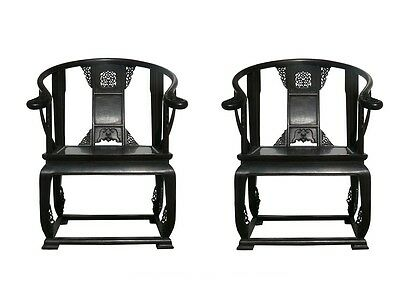 Pair Chinese Old Tan Wood Lotus Carving Bold Armchairs vs938