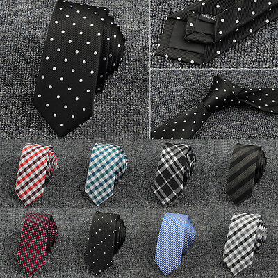 Classic Men's Tie Polyester Jacquard Skinny Slim Narrow Necktie Wedding Ties