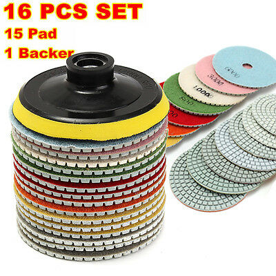 16 Piece 4 inch Diamond Polishing Pads Wet/Dry Set Granite Stone Concrete Marble