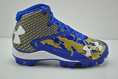 Under Armour Deception Mid RM Jr Baseball Cleats Spikes Sz 1.5Y Blue Gold White