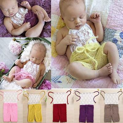 Newborn Baby Girls Boys Lace Crochet Knit Costume Photo Photography Prop Outfits