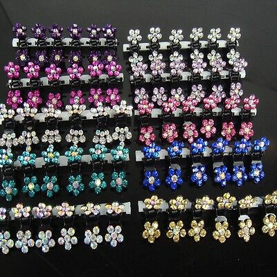 6/12 PCS Lots Girls Sweet Rhinestone Crystal Flower Mini Hair Claws Clips Clamps