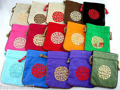 Wholesale 10pcs Chinese Vintage Embroider Silk jewelry Pouch Coin Purse Gift Bag
