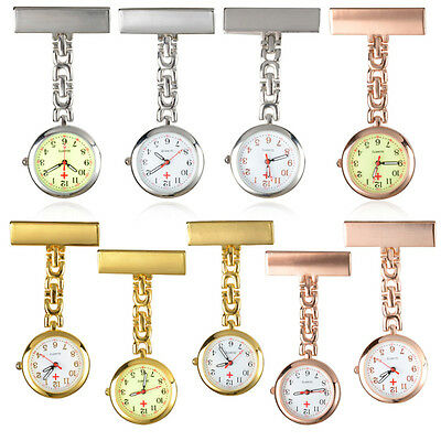 Luminous Dial Stainless Steel Clip-on Brooch Analog Quartz Medical Nurse Watch