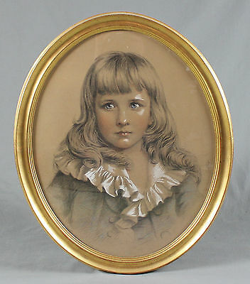 19th Century Pencil Drawing Sketch Study Portrait Young Boy Signed