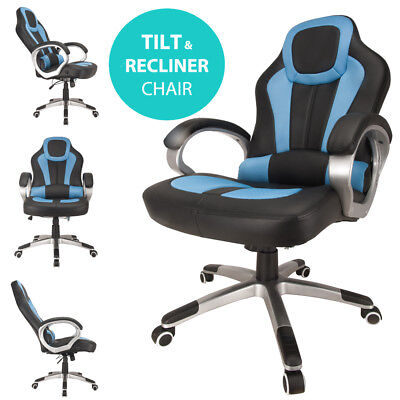 RayGar Deluxe Blue Racing Seat Gaming Chair Swivel Computer Desk Office Chair