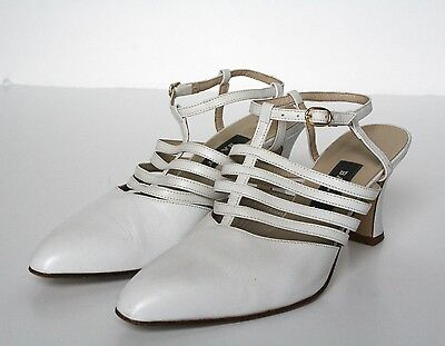 UK 5.5 Bally Strappy White Leather Shoes / sandals - 1990s - 38.5