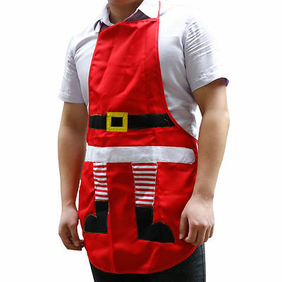 Festive Xmas Christmas  Kitchen Cooking Santa Red Apron Happy Gift  For Adult