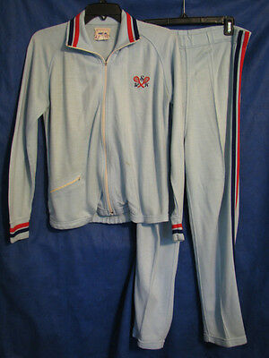 VTG 60/70s ADD-IN JASON EMPIRE Track Suit JACKET/PANTS Tennis Outfit BLUE KNIT S