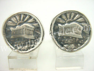 Sterling Silver Greek Roman Temple Coin Replica Cufflinks Cuff Links Antique
