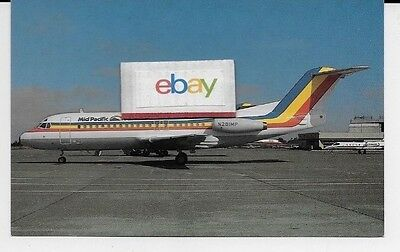 Mid Pacific Air Hawaii Fokker F-28-4000 #n281Mp Postcard