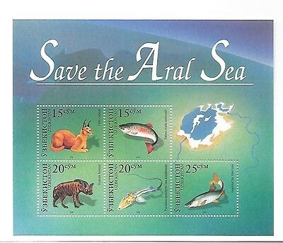 UZBEKISTAN Sc 113 NH ISSUE of 1996 - SOUVENIR SHEET -Animals - Save the Aral Sea