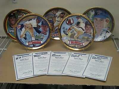 Nolan Ryan Plate Collection 5-Plates The Hamilton Collection 23K Gold Numbered