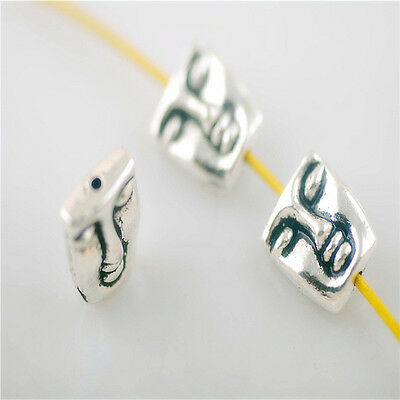 Retro 20pcs Silver Metal Beads Loose Spacer Craft Jewelry Finding 10x12mm Charms