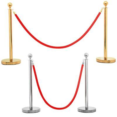 2 X Polished Steel Stanchion Set Queue Posts Barrier Red Rope/Belt Crowd Control
