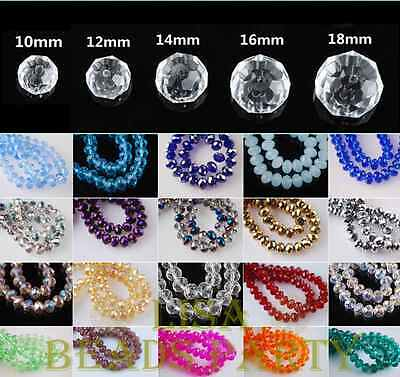 Wholesale Rondelle Faceted Loose Spacer Crystal Glass Beads 10/12/14/16/18mm