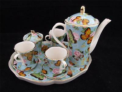 Ceramic Miniature Coffee Set on a Tray - Butterfly Design.