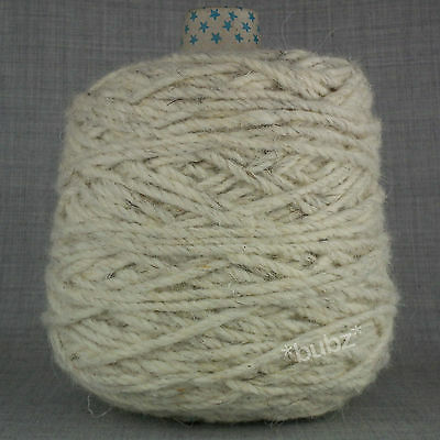 SUPER CHUNKY BERBER RUG WOOL - LARGE 400g CONE - FLECK - NATURAL CARPET YARN BB6