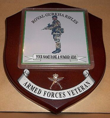 Royal Gurkha Rifles wall Plaque with name rank & number.