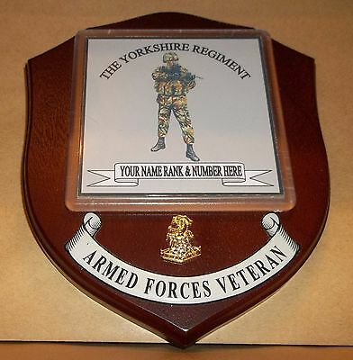 The Yorkshire Regiment wall Plaque with name rank & number.