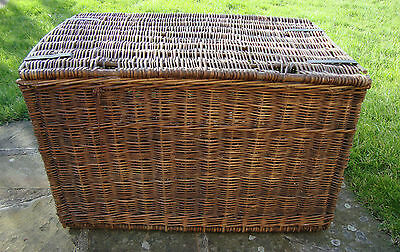 A Very Large Original Vintage Antique Wicker Laundry Basket Box  - Coffee Table