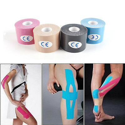 Kinesiology Tape Sports Physio Muscle Strain Injury Support Gym 5cm x 5m Roll UK