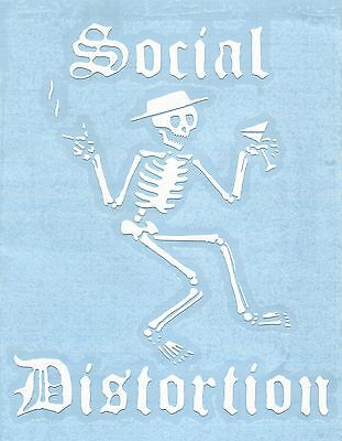 SOCIAL DISTORTION skeleton smoking/drinking WHITE RUB-ON STICKER **FREE SHIPPING