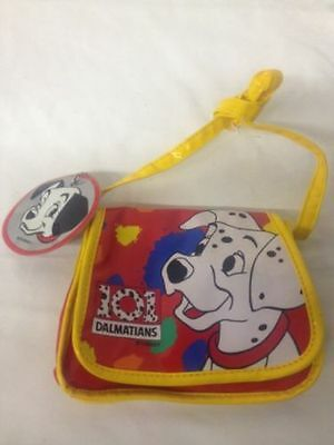101 Dalmatians Child's Purse With ID Tag Vintage Plastic Yellow Red Boy Puppy