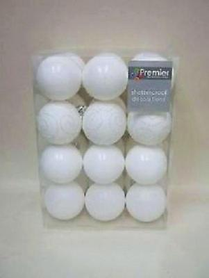 Pack 24 x 60mm Shatterproof Baubles WHITE Mix Christmas Tree Decorations