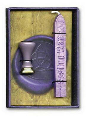 PURPLE TRIQUETRA SEAL & SEALING WAX KIT Writing Wicca Pagan Witch Goth
