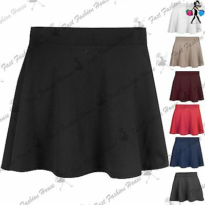 Kids High Waisted Stretch Skater Skirt Girls Flared Uniform School Mini Skirt