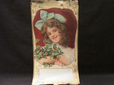 Little Girl with Bunch of Holly Vintage Salesman's Paper Calendar Sample  #4107K