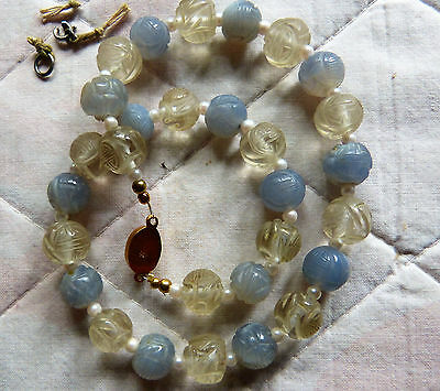 Fine Antique Chinese Carved Blue Chalcedony - Rock Crystal Shou Beads Necklace