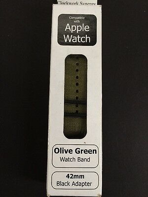 Clockwork Synergy - Replacement Band for Apple Watch 42mm Olive Green (F)