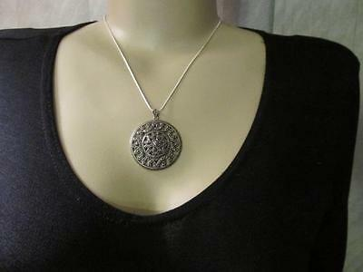 Antique Vintage Old Chinese Hematite Victorian style Pendant in Sterling Silver