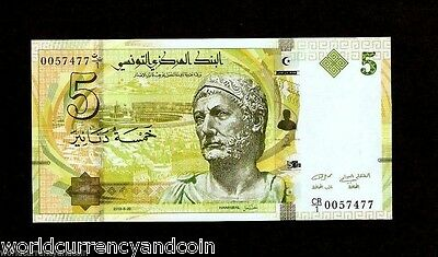 Tunisia 5 Dinars 2013 *replacement* Hannibal Ship Fish Unc Currency Money Note