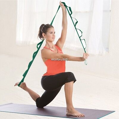 Yoga Pilates Gym Stretch Out Strap with Exercise Booklet Fitness Training Belt