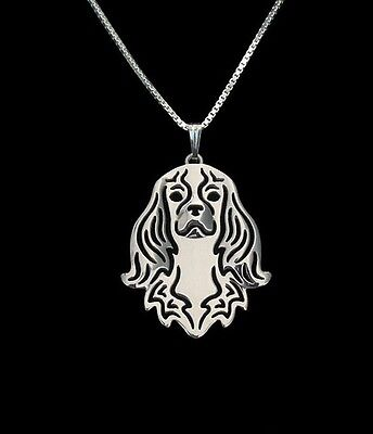 Cavalier King Charles 3D Silver pendant necklace dog collectible N101