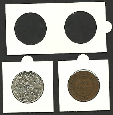 COIN HOLDERS 2 x 2 Staple Type 32mm Suits 1d & 50c Coins Pack of 50 Holders