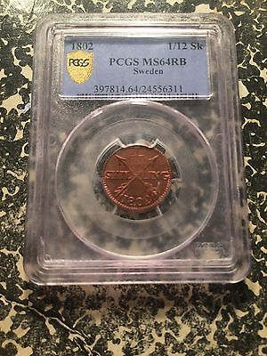1802 Sweden 1/12 Skilling PCGS MS64 Red Brown Lot#KT700 Beautiful Example!