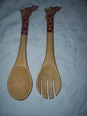 A Pair of African Carved Wood Giraffe Salad Fork & Spoon Set