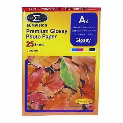 25 Sheets Pack Sumvision 200GSM Inkjet Printer Photo White Glossy A4 Paper New